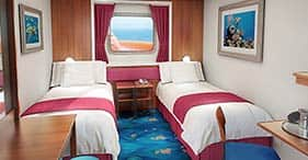 Norwegian Jewel cruise ship Obstructed Oceanview Stateroom with two beds and pic
