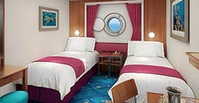 Norwegian Jewel cruise ship Oceanview Stateroom with two beds and porthole.
