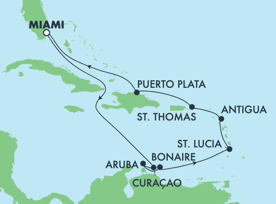 11-Day Caribbean Round-trip Miami: Curacao, Aruba & Dominican Republic