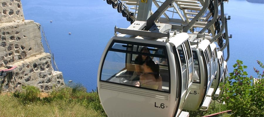 Ride the cable car on Santorini cruise