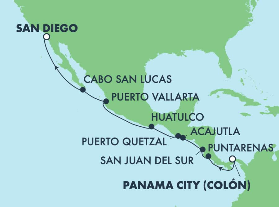12-Day Panama Canal from Panama City to San Diego: Cabo & Puerto Vallarta