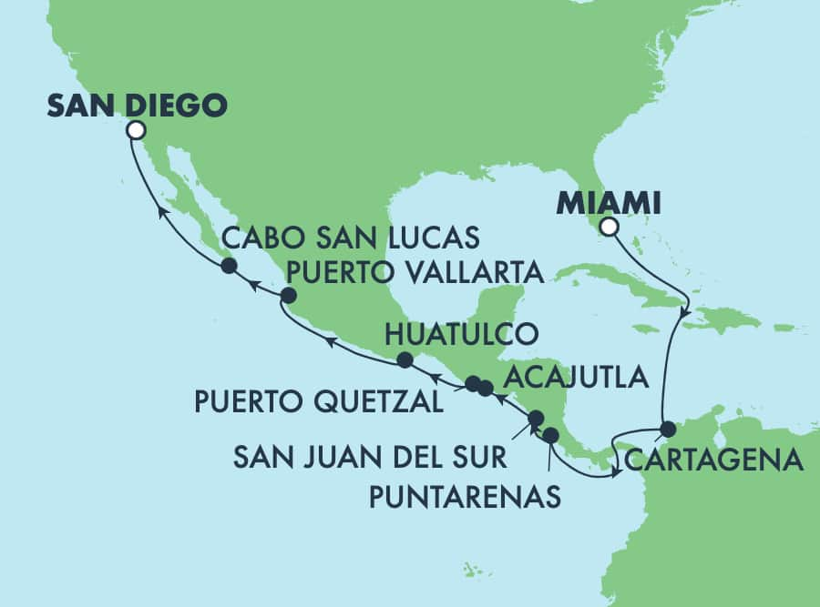 15-Day Panama Canal from Miami to San Diego: Mexico & Costa Rica
