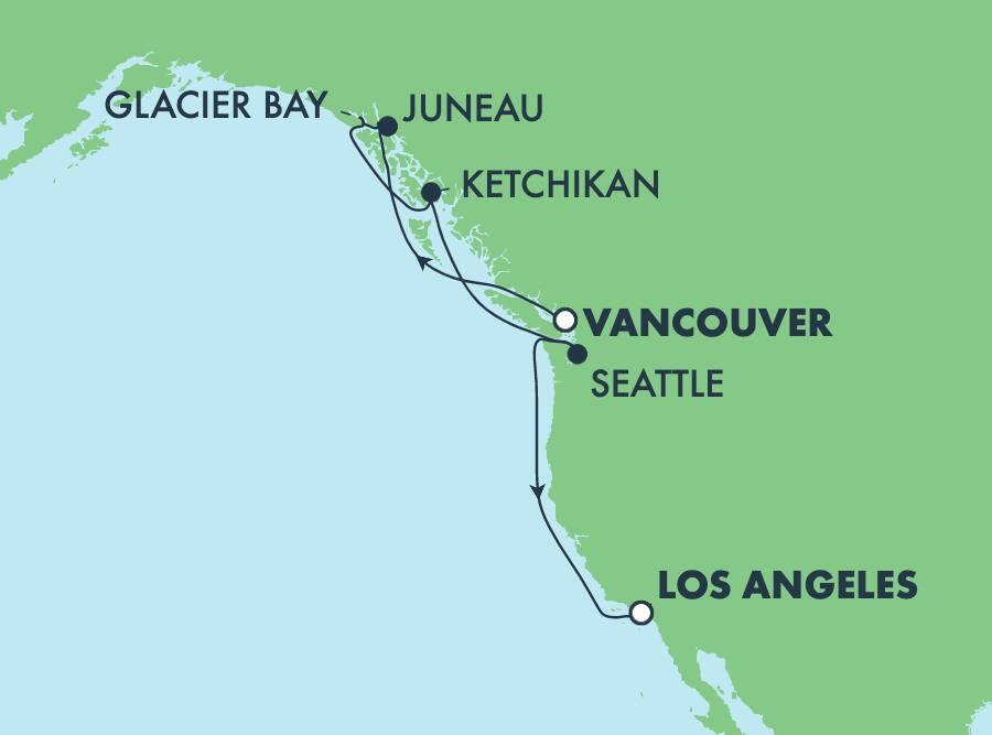 9-Day Alaska from Vancouver to Los Angeles: Glacier Bay & Juneau