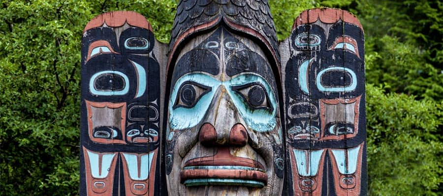 Carved totem pole on your Alaska vacation