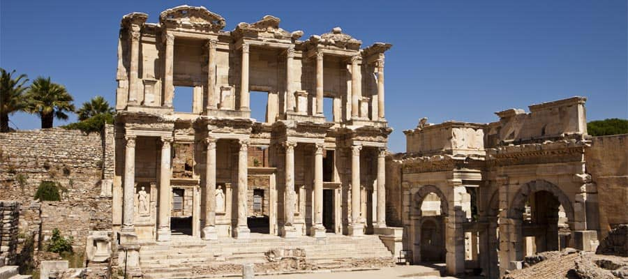The front facade and courtyard of the Library of Celsus