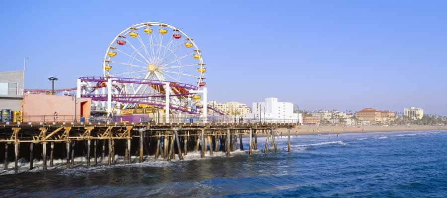 The pier at Santa Monica on your Los Angeles cruise