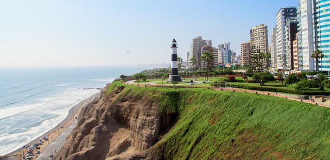 Cliffside beaches welcome you to Lima, Peru