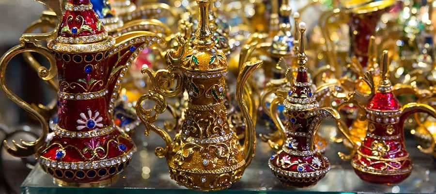 Aladdin style lamps in a Muscat Market