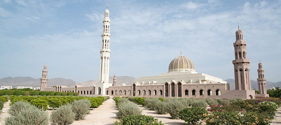Sultan Qaboos Grand Mosque on your cruise to Muscat