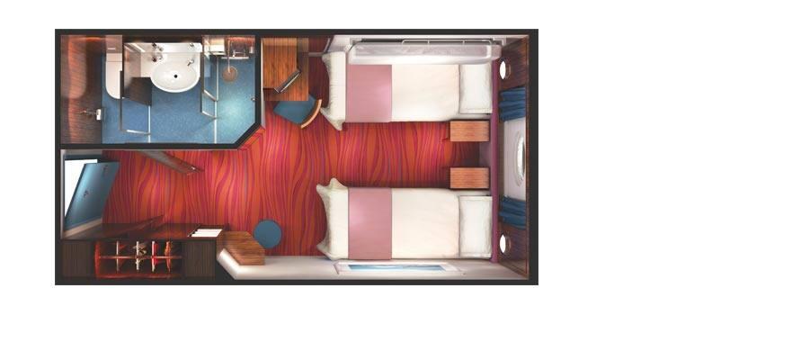 תכנית הקומה של חדר עם חלון עגול לים