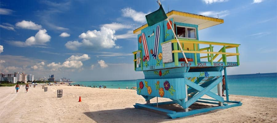 Colourful lifeguard stands on your Miami cruise