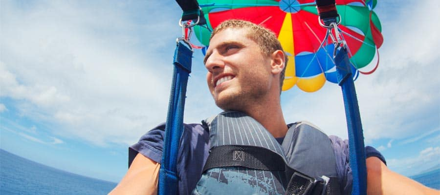 Parasail on your Great Stirrup Cay cruise