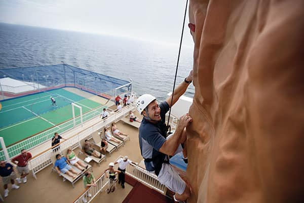 Rock climbing on Norwegian Pearl
