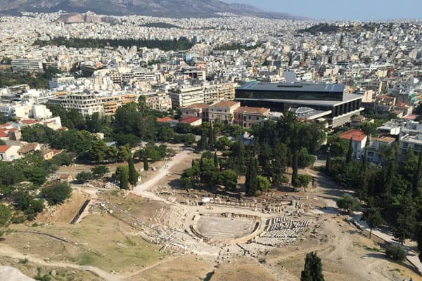 View looking down from the Acropolis in Athens