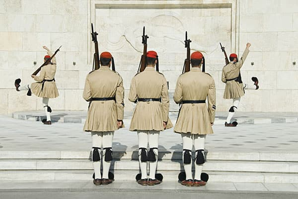 Greek soldiers drill in Athens