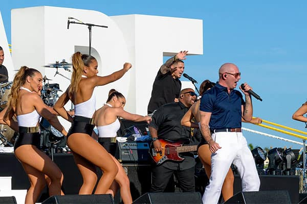 Pitbull performing at Norwegian Escape Inaugural