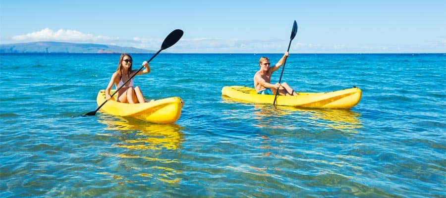 Kayaking on a cruise to Hawaii