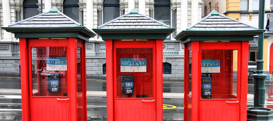Red telephone booths on a Cruise to Dunedin