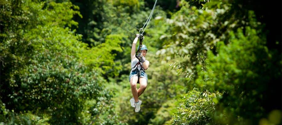 Ziplining  on a Panama Canal cruise