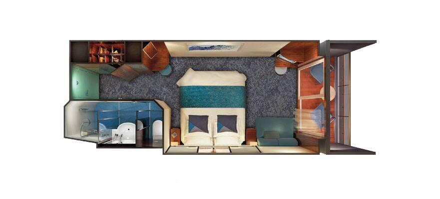 תכנית הקומה של חדר משפחתי עם מרפסת