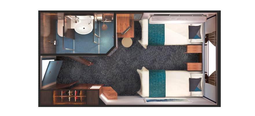 תכנית הקומה של חדר עם חלון רחב לים