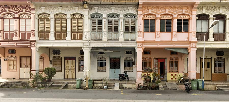 Heritage houses in George Town on your Cruise to Penang