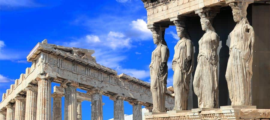 Cruise to Athens where you can see the Caryatids of the Erechtheion Temple