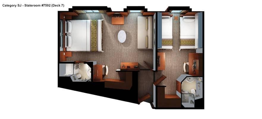Plano de suite familiar con visibilidad limitada, 1 habitaciones
