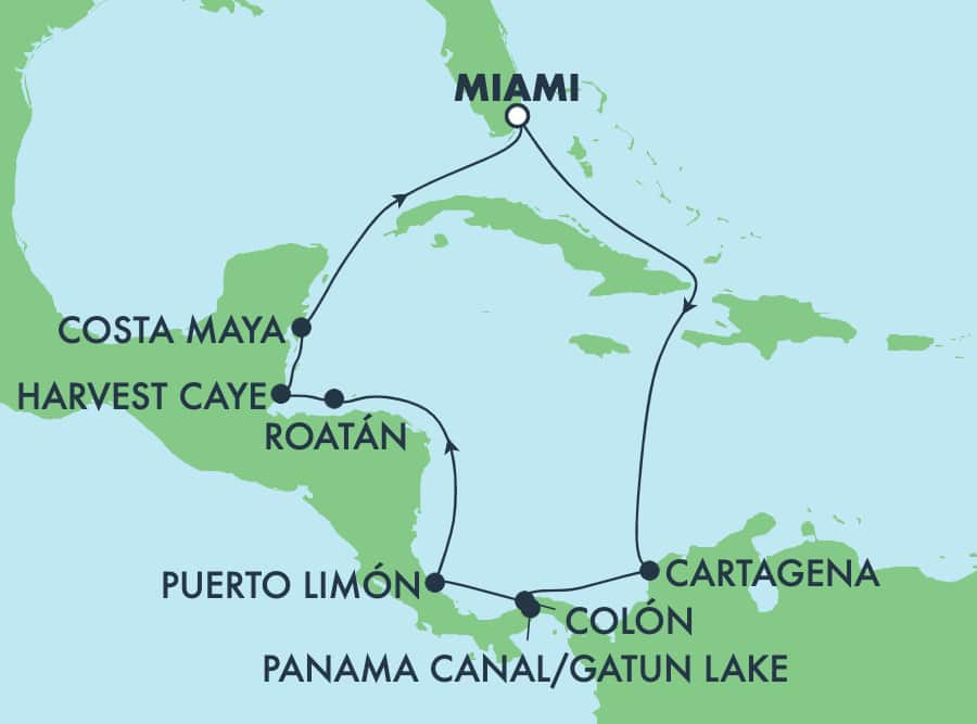 Viaje de ida y vuelta al Canal de Panamá desde Miami: México, Costa Rica y Belice,11 días