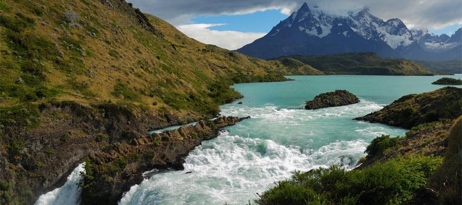 Waterfall in Torres del Paine National Park in Punta Arenas
