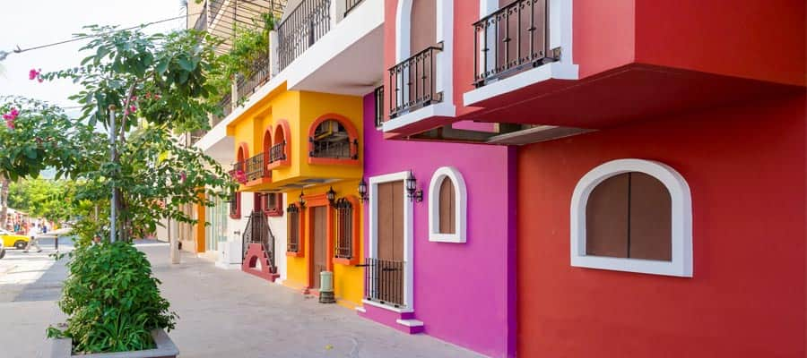 Colourful buildings on your Mexican Riviera cruise