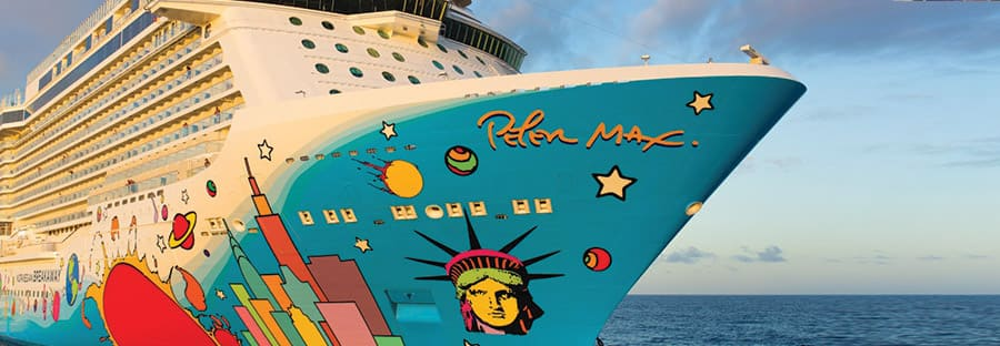 Décoration de la coque du Norwegian Breakaway par Peter Max