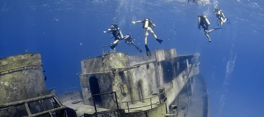 ジョージタウンへのクルーズで体験する、沈没船でのシュノーケリング