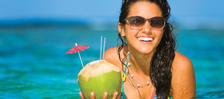 Fresh coconut water on your Bahamas cruise