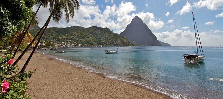 Beautiful Beaches when you cruise to St. Lucia