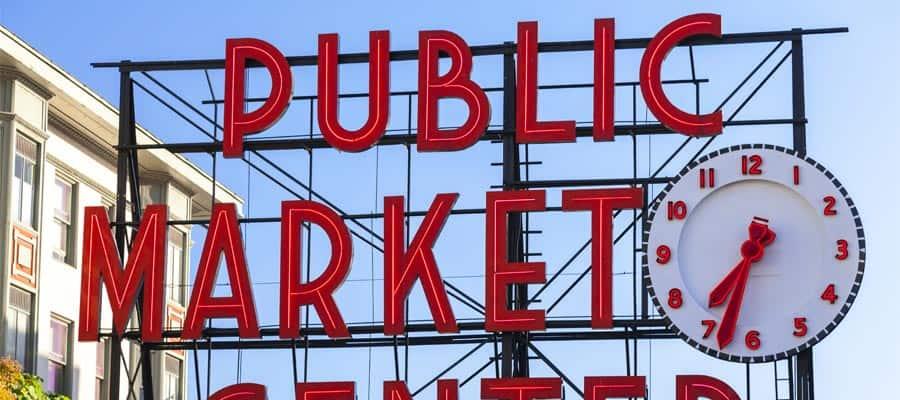 Pike Place Market em seu cruzeiro em Seattle