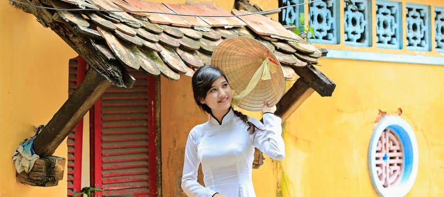 Traditional clothes on a Cruise to Phu My (Ho Chi Minh City)