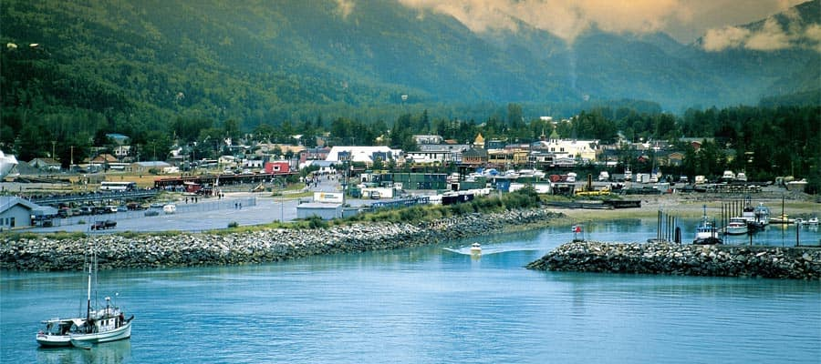 Skagway Harbor on an Alaskan cruise