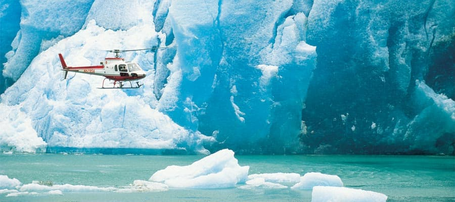 Fly to glaciers on an Alaskan Cruise