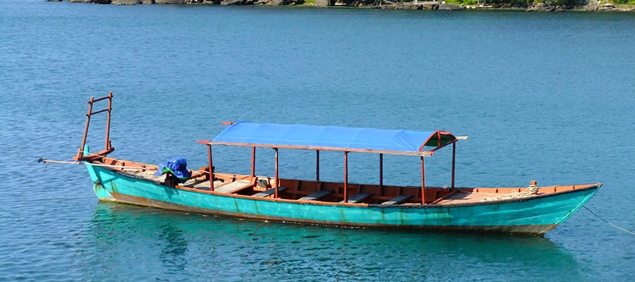Traditional wooden boat in Sihanoukville
