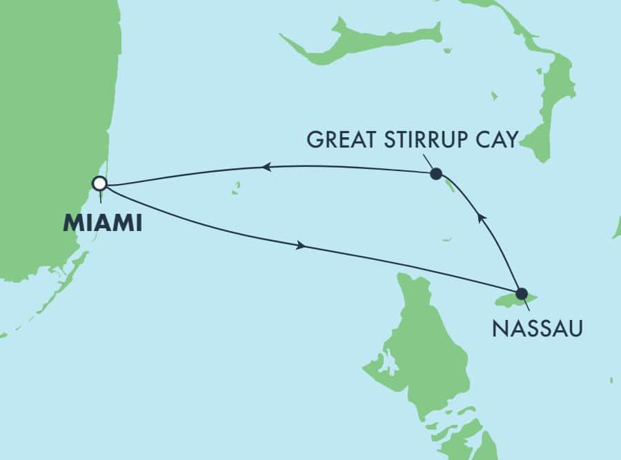 שייט הלוך ושוב בן3 יום לאיי הבהאמה ממיאמי: גרייט סטירופ קיי ונסאו