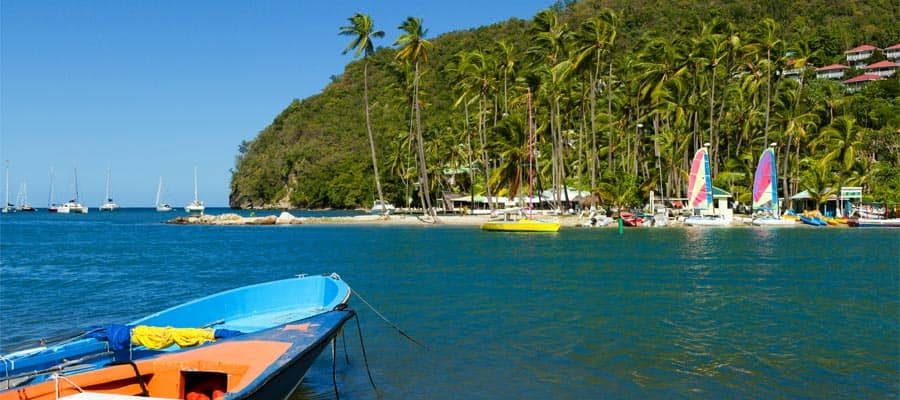 Lush scenery in Marigot Bay on your St. Lucia cruise