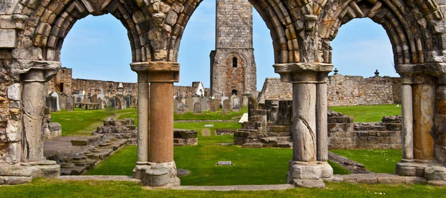 Ruin of St Andrews Cathedral on Europe cruises