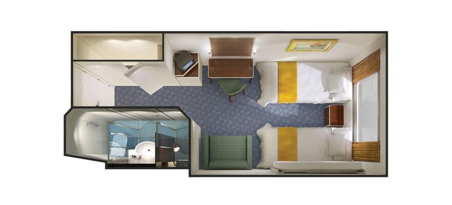 Plano de un camarote exterior con ventana