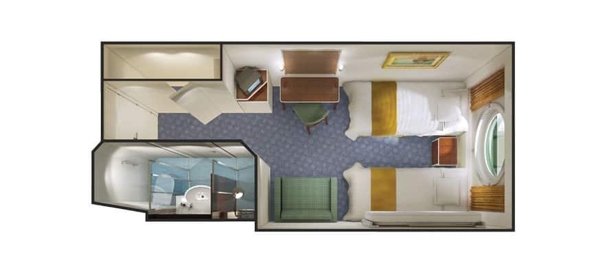 Grundriss einer Außenkabine mit Bullauge