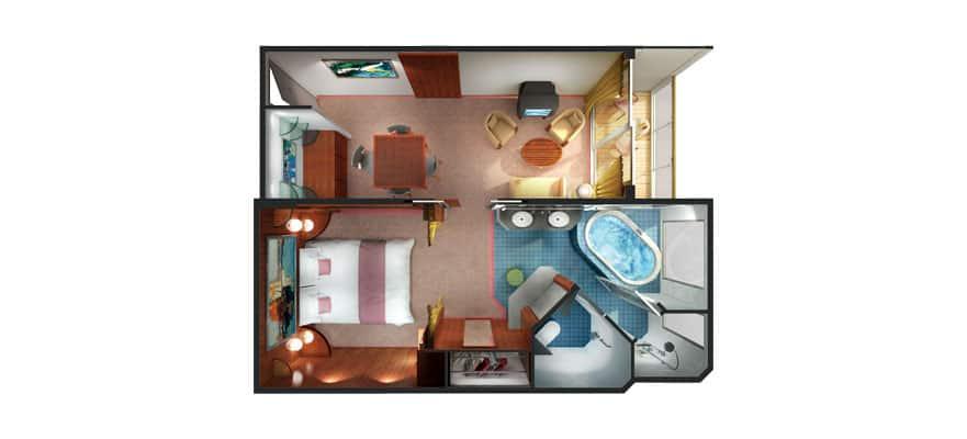 Grundriss einer Penthouse Suite mit großem Balkon, Heck