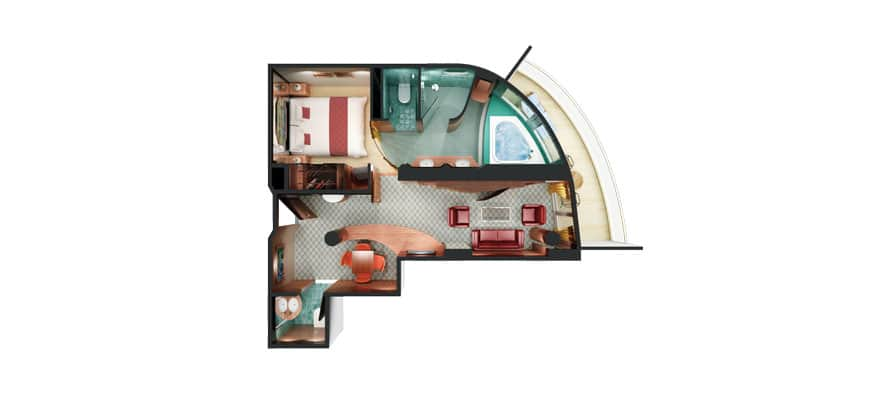Floor plan Aft-Facing Owner's Suite with Master Bedroom & Balcony