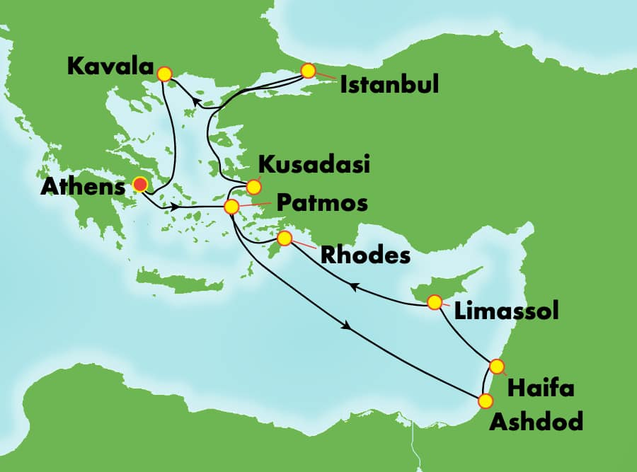10-Day Greek Isles Round-Trip Athens: Greece & Israel