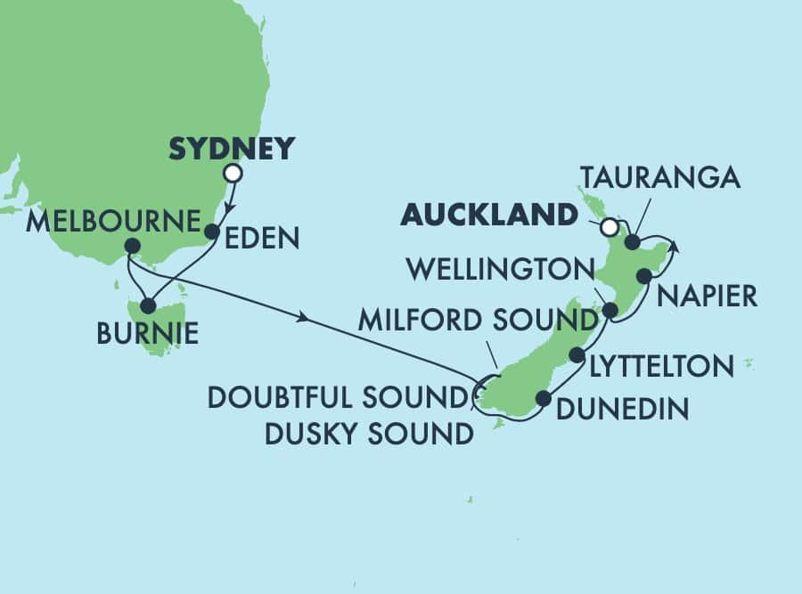 שייט בן12 ימים לאוסטרליה וניו זילנד מסידני לאוקלנד