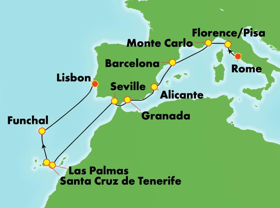 地中海クルーズ 12日間 ローマ発リスボン着:イタリア、スペイン、カナリア諸島